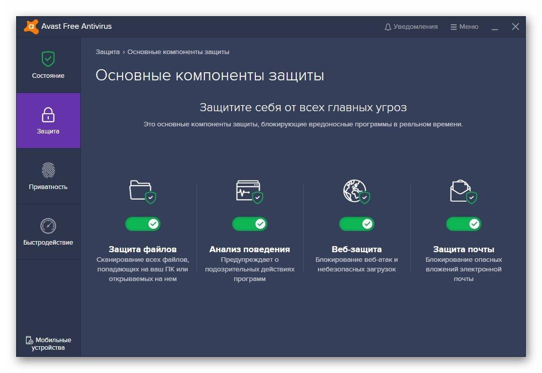 Основные компоненты защиты Avast